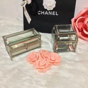 Set of 2 Square Glass Jewelry Box Organizers NEW